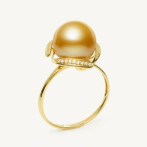 Round 11.7MM Rich Golden South Sea Pearl Ring 14K Solid Yellow Gold,10#