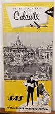 1963 Calcutta India vintage SAS City Portrait vintage travel brochure map b
