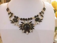 and tiny clear crystals in gift box Brand new gold necklace with black stones
