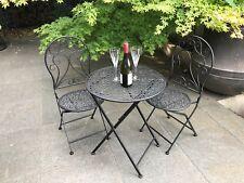 Mia 3 Piece Patio Setting Metal Garden Furniture Outdoor Home Decor Black/Earth