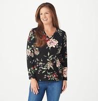 Denim & Co. Printed Perfect Jersey V-Neck Top - Black - Medium