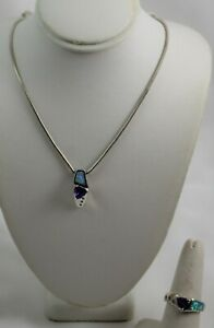 """Sterling Silver Opal & Trillion Cut Amethyst Pendant & Ring Chain is 16"""" to 18"""""""