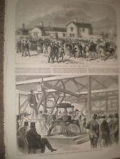 Nueva estación ferroviaria Epsom Downs carrera curso & cable telegráfico Greenwich 1865