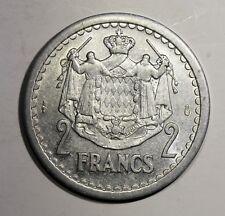 Piece de 2 Francs 1943 Monaco. Prince Louis II. Alu   KM121  Aca968