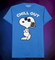New Peanuts Charlie Brown Snoopy Chill Blue Men's T-Shirt