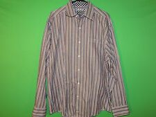 Johnston & Murphy Men's Size XL Extra Large Tailored Fit Striped Long Slv Shirt