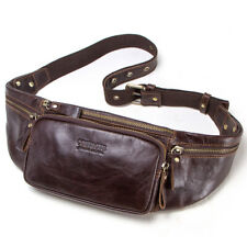 Men Genuine Leather Fanny Pack Waist Bag Chest Shoulder Bags Crossbody Backpack