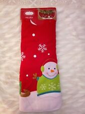 Christmas Tree Skirt Red 48 in Trim A Home Snowman with Headphones New