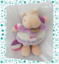 Doudou Peluche z'amigolo Léo l'hippopotame Violet Et Blanc Doudou Et Compagnie