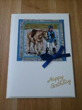Horse Birthday card, handmade, fabric, farm animal, gymkhana, horse, pony