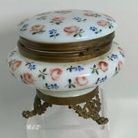 Brass Ormolu Footed Pink Rose French Opaline Art Glass Trinket Box Antique