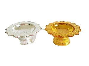 2 PCS Gold Silver Tray Pedestal Phan Buddha Hindu Worship Amulet Small Ornament