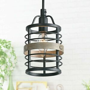LNC Akari Faux-Wood Black Rustic Farmhouse Industrial Mini Pendant Cage Light
