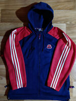Adidas 90's Vintage Mens Hoodie Tracksuit Top Jacket Hooded Navy Blue Red Baggy