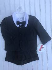 Baby Boy Black Formal Outfit Jacket Shirt Shorts Bow tie Sz 2t NWT