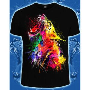 """Herren T-Shirt """"Tiger"""" mit Druck UV aktiv Schwarzlicht Neon"""