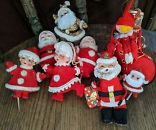 Small Vintage Felt Flocked Mr. & Mrs. Santa Claus& Elf In Shoe Japan 8 items