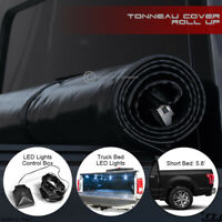 For 2019+ Dodge Ram 1500 5.7 Ft Short Bed Lock & Roll Up Tonneau Cover+LED Light