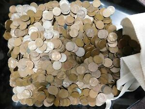 5000 Mixed Lincoln Wheat Cents (2 bags of 2500 Each)