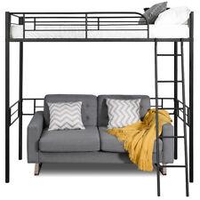 Metal Loft Twin Bed Frame Single Twin Size High Loft W/Ladder &Guard Rail Dorm