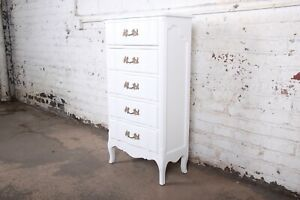 French Provincial Louis XV White Lacquered Lingerie Chest