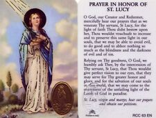 Prayer Card in Honor of Saint Lucy Light of Faith Wallet Size Laminated RCC63EN