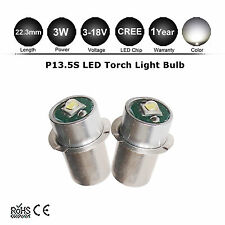 2Pcs Mag Lite LED Upgrade Bulb P13.5S Torch Flashlight 3-14V D C Cell CREE 3W