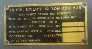 Willys M38 jeep IDENTIFICATION PLATE. NOS. What a find here Don't miss it