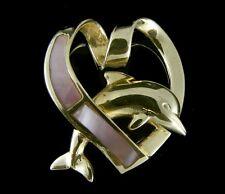 14k Oro Amarillo Macizo HAWÁI DELFÍN ROSA NÁCAR Corazón Deslizador Colgante