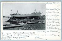 Pre-1908 POCOMOKE CITY MARYLAND SHIP LAUNCHING TO SNOW HILL MD PURNELL POSTCARD