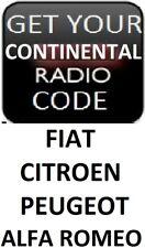 UNLOCK YOUR CONTINENTAL RADIO STEREO CODE FIAT PEUGEOT ALFA ROMEO CITROEN
