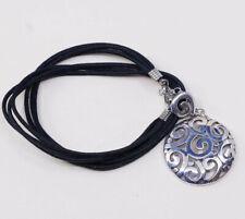 "18""+2"", vtg sterling silver handmade necklace, 925 pendant w/ linen thread"