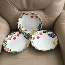 Set Serving Bowls 3 Italian Italy Vibrant Hand Painted Ceramic Fruit BHS