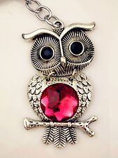 RubyRed Diamante Antique Design Gift Movable Owl Study Love Lucky Bag Key Charm
