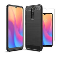 For Xiaomi Redmi 8A Dual Case Carbon Fibre Cover & Glass Screen Protector