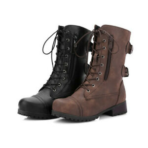 Women Military Combat Ankle Boots Army Buckle Lace Up Zip Flat Biker Shoes Size
