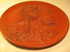 """11.6"""" Collector Plate Chinese Art Pekingese Dogs [Z41]"""