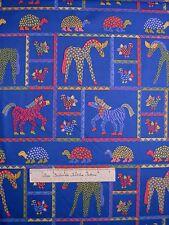 Riverwoods Fabric - Folkloric Fun Animal Patch Blue - Cotton YARD