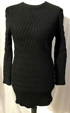 Womens Chunky Cable-Knit Longline Jumper BLACK 2313 New Fits sizes 10-12-14-16