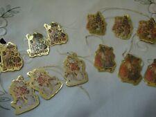 Vintage Santa Claus Antique Scene Christmas DieCut Foiled 12 Paper Ornaments New