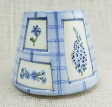 Blue and Purple Floral Ceramic Candle Shade - Jar Topper