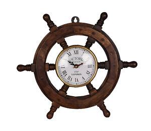 "Wooden Ship Steering Wheel Clock 18""Inch Nautical FatherDay Wall Door Decoration"