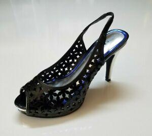 Metaphor Womens Drexel High Heels Black Peep Toe Sling Back Ladies Size 6.5M