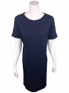 Isaac Mizrahi Pima Cotton Dress with Rolled Sleeves Solid Dark Navy X-Large Size