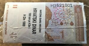 CROATIA BRICK of 1000 P # 16a with NUMBERS 621111 621666 & 621621 + RADAR 621126