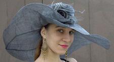 NEW Women's Kentucky Derby Hat Gray Sinamay Straw Wide Brim Flowers Veil Garden