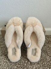 UGG Australia Natural Fluff Flip Flop Slipper Sandals Shoes Size 6