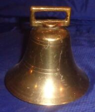 "BM038 Antique Solid Cast Brass Cow Bell 4"" Dia."