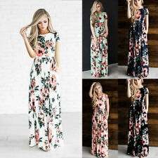 Women Summer Short Sleeve O Neck Maxi Dress Boho Floral Casual Ball Gown Dress