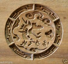 Antique JAPANESE KASHIGATA - HAGAKURE Dragon  Wooden Cake Mold w/ Cover
